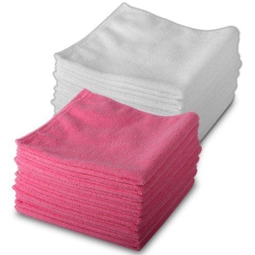 Exel Magic Mikrofaser Reinigungstücher 20 Stück Packung 10 Weiß& 10 Rot - Frei von Chemikalien Reinigen - Mikrofaser Tücher für Schmierfreies Wischen