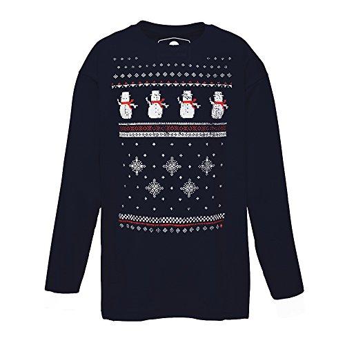 Kinder Schneemann Weihnachts-Langarmshirt - Dunkelblau (XS - Age 3/4) (Pullover Kinder Weihnachten)