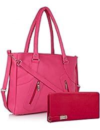 Women's Handbag And Wallet Clutch Special By JSPM (Combo Offer) (Pink)