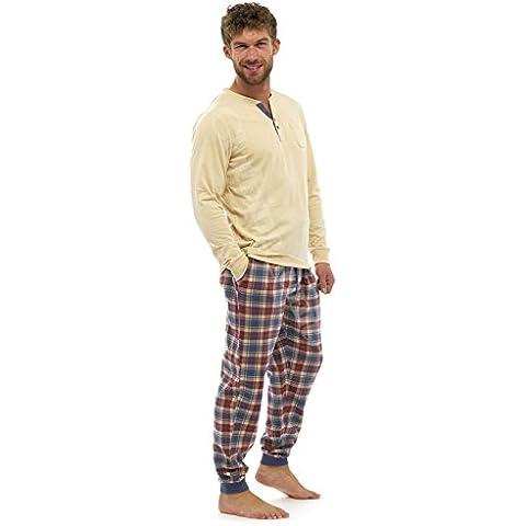 Prendas Para Hombre Perchado Cuadros Franela Algodón Conjunto Pijama Cálido De Invierno Jersey