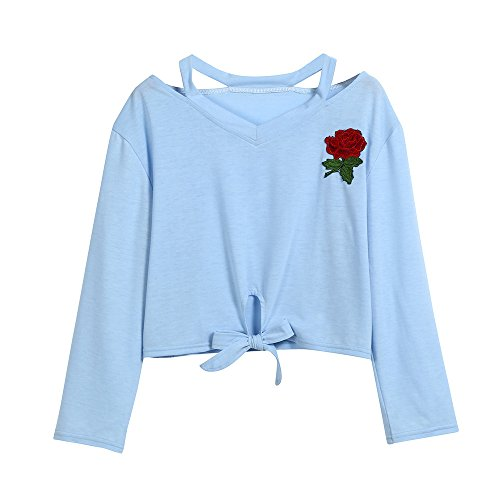 SHOBDW Mode Damen Langarm Sweatshirt Rose Drucken Stickerei Casual Tops Bluse Youth Frauen Einfach...