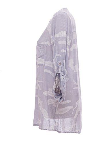 Moda Italy Damen Schlupfbluse Bluse Fischerhemd Camouflage Muster Punkten V-Ausschnitt und Langen Ärmel mit Knopfriegel Polka Dots Longbluse Hemdbluse Grau