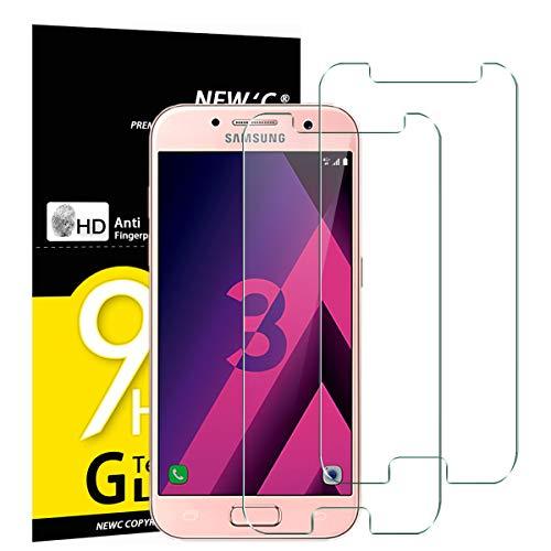 NEW'C PanzerglasFolie Schutzfolie für Samsung Galaxy A3 2017, [2 Stück] Frei von Kratzern Fingabdrücken & Öl, 9H Härte, HD Bildschirmschutzfolie, BildschirmschutzfolieSamsung A3 2017