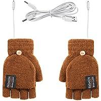 ROSEBEAR Guantes con Calefacción USB para Unisex Hombres Mujeres Guantes de Punto Cálidos de Invierno Manopla de Medio Dedo Completo