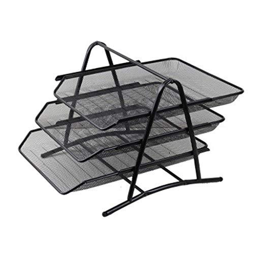 Dateihalter Lagerregal, Mehrschichtig Stapelbar Schwarzes Gitter Eisen Für Bürobedarf-Eisenablage/Drei Schichten Schwarz -