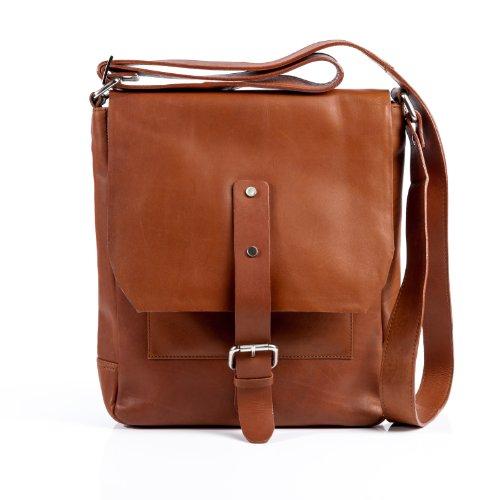 FEYNSINN® Messenger Bag JACKSON - Herren Umhängetasche groß Ledertasche fit 11 Zoll Laptop - Kuriertasche Herrentasche echt Leder hellbraun-cognac