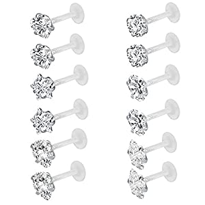 ZeSen Jewelry 12st 16G Klar Bioflex CZ Stein Labret Monroe LippenRinge Helix Tragus Cartilage OhrRingee Stud Piercing