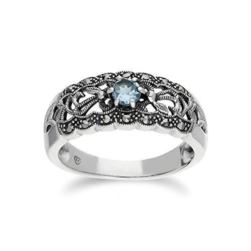 Gemondo Topas Ring, Sterling Silber Blauer Topas & Markasit Simple Jugendstil Ring - Topas