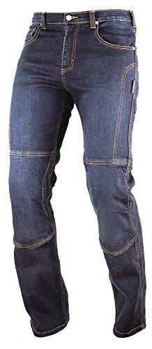 A-Pro, Jeans da motociclista, con Inserti protettivi, in Kevlar rinforzato, blu, 34