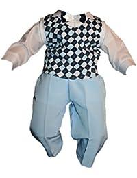 Mono Infantil 5 Pcs Azul A Cuadros Traje De Bautizo Jóvenes De Bebé Infantil Niño Bautizo Traje Traje De Boda De Fiesta