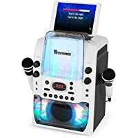 Bluetooth Karaoke Machine CDG/MP3G/USB. Built in Disco Lights & Dancing Water Effect. Includes 240 Song Family Party & Chart Hits Pack. 2 Microphones