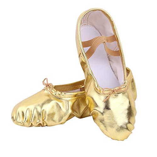 1d0441676f08b ranrann 1 Paire Chaussure de Ballet Femme Fille Chaussures Yoga Gymnastique  Brillants PU Cuir Chaussons Danse