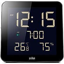 Braun BNC014BK - Reloj despertador digital de pared con temperatura y humedad interior, color negro