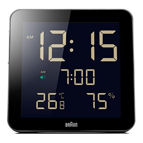 Braun BNC-014-BK - Reloj despertador digital de pared, color negro