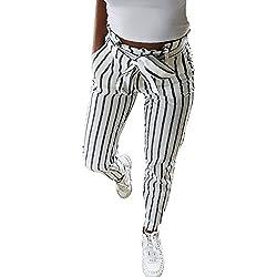 DOGZI Mujer Flaco Moda Pantalones a Rayas Dulce Arco Pantalones Vaqueros Largos rayados Corbata Alta Cintura Señoras Pantalones Pantalón