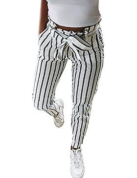 DOGZI Mujer Flaco Moda Pantalones a Rayas Dulce Arco Pantalones Vaqueros Largos rayados Corbata Alta Cintura Señoras...