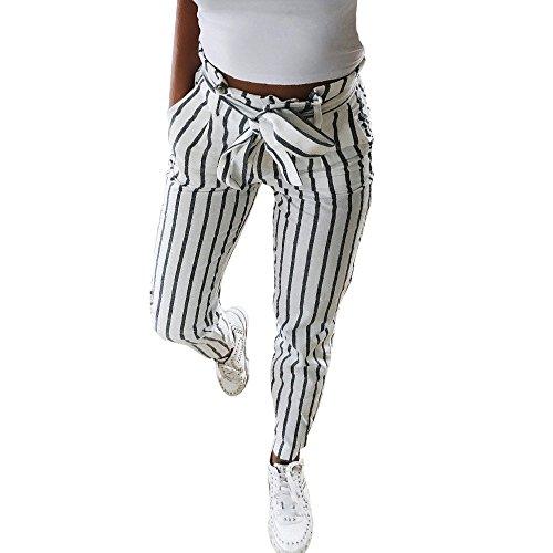GNYD Damen High Waist Stretch Skinny Elegant Gestreifte Lange Jeans Tie Hosen (weiß, S) -