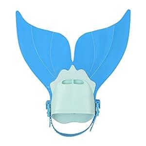 LIKEEP Meerjungfrau Flossen für Kinder Schwimmen in Hübschen Farben Toller Schwimmspaß ! (Blau)