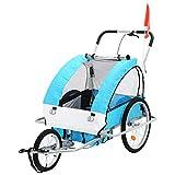Hehilark Kinderfahrradanhänger Jogger Fahrradanhänger Kinderanhänger Stahl 3 Wheels Design Bicycle Trailer,2 in 1 Radanhänger Anhänger für 2 Kinder (Blau)