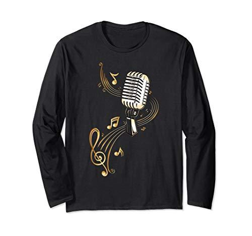 Retro Musik Mikrofon mit Musiknoten und Notenschlüssel Langarmshirt (Country Musik Kostüm)