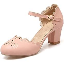 Pumps Beiläufige Niedrige Ferse Knöchel Schnalle Falbala Mädchen Pumps Schuhe Frauen Pumps (38, pink)
