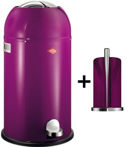 Preisvergleich Produktbild Wesco Kickmaster SOFT 33-Liter Abfallsammler & Küchenrollenhalter im Set, Farbe: brombeer
