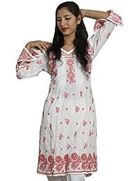 Panache Women's Straight Banarasi Cotton Chikan Kurti with Cotton Chikan Pant (F/BCLT/00001_White_42)