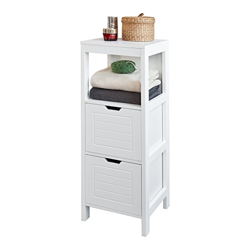 SoBuy® FRG127 W, White Floor Standing Bathroom Storage Cabinet Unit With 1  Shelf And 2 Drawers