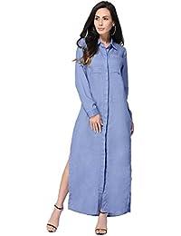 7d61eeeac8186 Evedaily Femme Robe Chemise Longue Maxi Manche Longue en Coton Robe Fendue  sur Les Côtés Casual