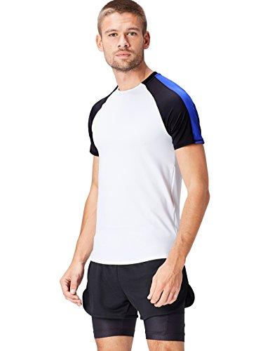 FIND Camiseta Bicolor para Hombre, Blanco (White/Black/Cobalt Blue), Medium