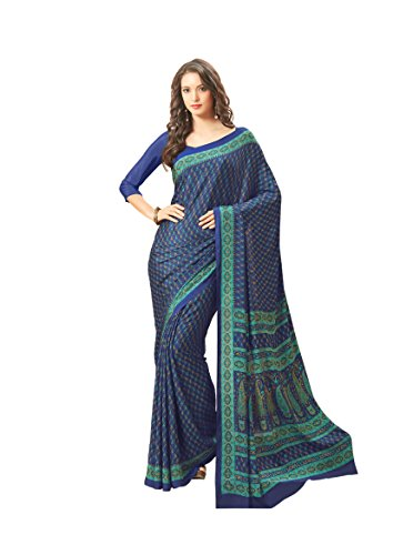 Florence Blue Crepe Printed Saree with Blouse