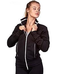 Happy Clothing Damen Sweatjacke mit Reißverschluss und Kragen ohne Kapuze  im sportlichen Design, Elegante Jacke 762e0fae53