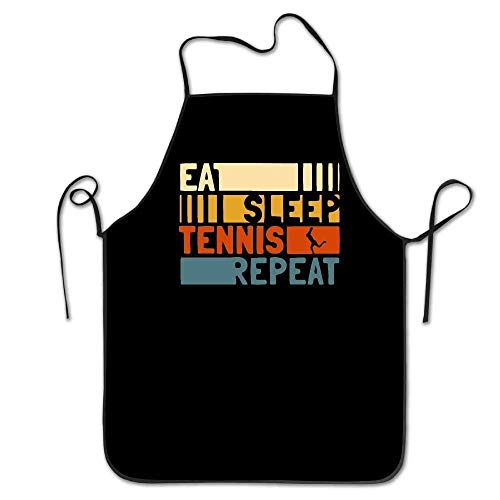 dhdhgdfj Schürzen Küchenschürze Eat Sleep Tennis Repeat Women Men Kitchen Bib Apron Flower Shop Coffee Shop with Adjustable Neck 's Apron Pink Cooking Grilling Apron for Women Men Unisex Kids waitres (Print-kellnerin-schürze)