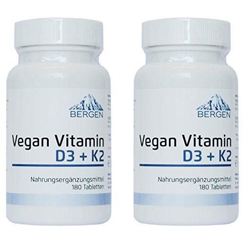 6 Tabletten 125 Tab (Vitamin D3 5000 I.E. (Cholecaliferol) + Vitamin K2 MK7 (natürliches Natto Menaquinon MK-7) 200mcg - 2 Dosen (360 vegane Tabletten) - Vitamin D3 + K2 - hohe Bioverfügbarkeit -)