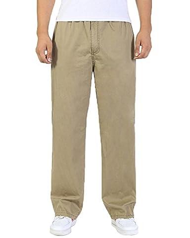 Men's Cotton Cargo Elastic Waist Loose-Fit Leisure Work Pants yellow XL