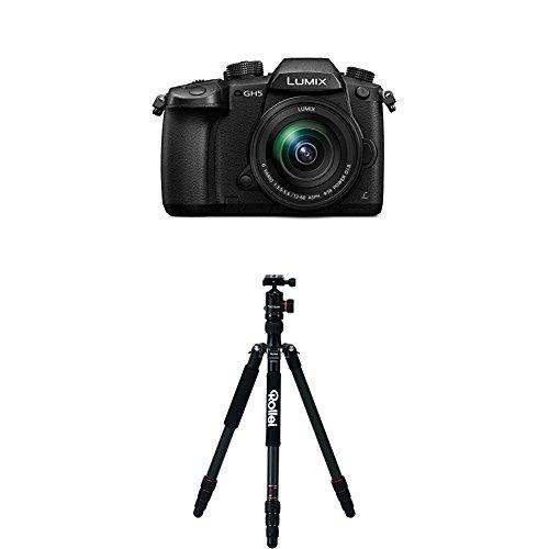 Panasonic Lumix DC-GH5MEG-K Systemkamera (20 Megapixel, DUAL IS Bildstabilisator, 4K60p Videoaufname, 4K & 6K Serienbilder, Hybrid Kontrast AF, wetterfestes Magnesiumgehäuse, mit Objektiv Lumix G VARIO 12-60mm/F3.5-5.6 ASPH) Schwarz+Rollei C5i Carbon Black