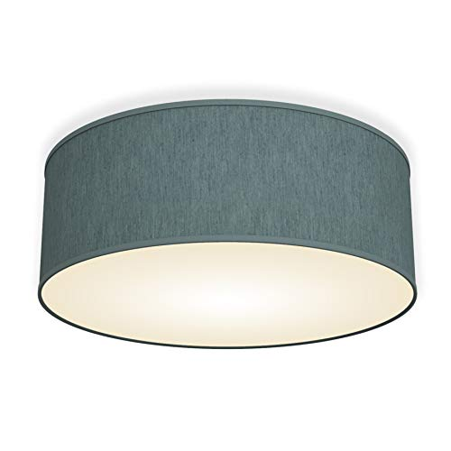 B.K.Licht Deckenleuchte petrol-grau rund Stoff Deckenlampe (petrol-grau 2-flammig)