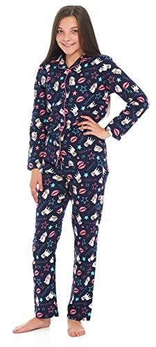 Slumber Hut® Mops Hund Mädchen Pyjamas 100% Winceyette Baumwolle - Neuheit Gebürstet Marineblau Wincy Kinder Schlafanzug - Größe 7-8 Jahre -