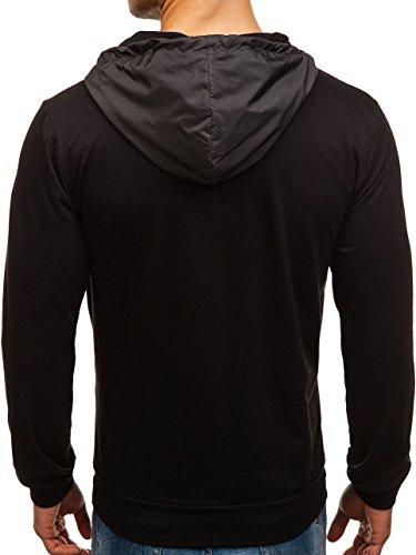 BOLF Kapuzenpullover Sweatshirt Hoodie Kapuze Pullover mit Reißverschluss Mix 1A1 Dunkelgrau-Schwarz_1115