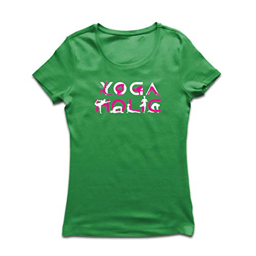 lepni.me Frauen T-Shirt Yoga Holic, Positive Vibrationen, motivierende Workout-Zitate, Yogi-Liebhaber-Geschenk (Medium Grün Mehrfarben)