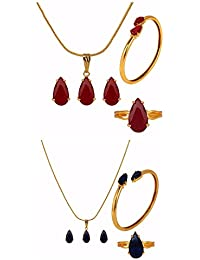 Parijaat Designer Jewellery Combo Of Red And Blue Pendant With Chain, Earrings, Ring And Bracelet For Women