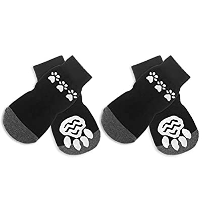 SCIROKKO Dog Socks Anti Slip Pet Paw Protection Indoor Wear BootsTraction Control Black from SCIROKKO