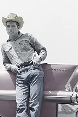 HUGE LAMINATED / ENCAPSULATED Paul Newman Blue Eyes Cowboy Hat Cadillac POSTER measures 36 x 24 inches (91.5 x