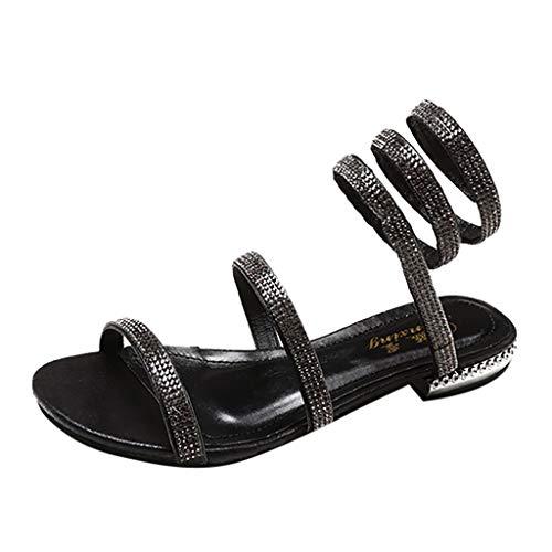 (ODRD Sandalen Shoes Mode Damenschuhe Strass Flache-Bottom Damen Sandalen Sexy Roman Sandals Schuhe Strandschuhe Freizeitschuhe Turnschuhe Hausschuhe)