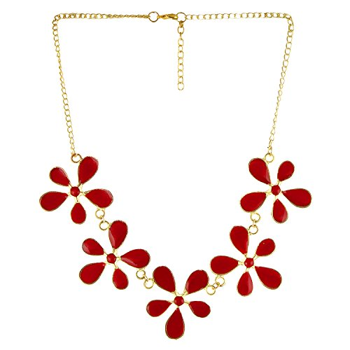 Arittra Alloy Tribal Design Red Golden 5 Flower choker Necklace in Antique Finish for Girls and Women brass\Tribal\handicraft\Resin Design Silver Multi colour,ethnic\traditional\tribal\antique\Designer\fashion\style\Necklace\Choker\chain\pendant Set with matching earrings for women\girls-Valentine gift,todays,deal,party,casual,discount  available at amazon for Rs.180