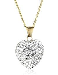 Crystelle Gold Damen Anhänger Herz mit Kette 9 Karat 375 Gold 42/45cm Swarovski Kristalle weiß 500350311