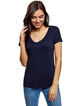 oodji Ultra Mujer Camiseta Básica de Viscosa