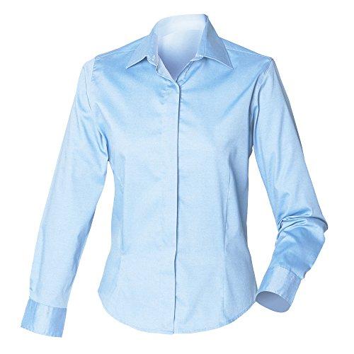 Henbury Damen Oxford Bluse Langarm, körperbetont Businessblau