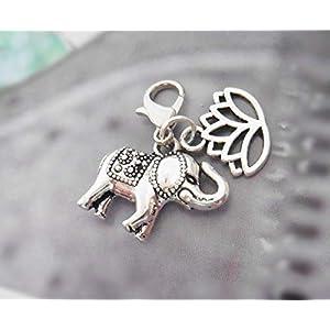 Elefant Lotusblüte 3D Anhänger Metall Charm Karabiner Handmade Bettelarmband Kettenanhänger Boho Yoga Meditation