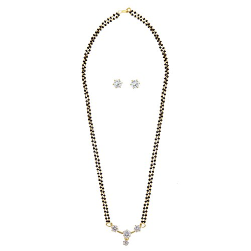 Parinaaz Jewellery Gold & Rhodium Plated American Diamond Mangalsutra Pendant With Chain And Earrings For Women